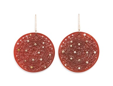 PAIR OF CARNELIAN, COLOURED DIAMOND AND DIAMOND EARRINGS, MICHELE DELLA VALLE