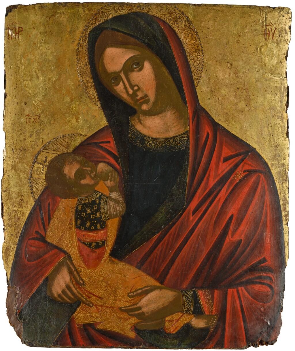 AN ICON OF THE MOTHER OF GOD GALAKTOTROPHOUSA, VENETO-CRETAN, 17TH CENTURY