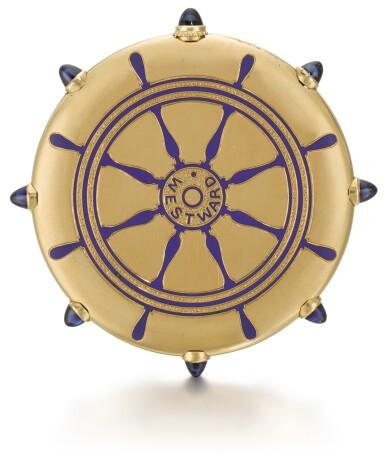 View 1. Thumbnail of Lot 76. CARTIER, PARIS   [卡地亞,巴黎]    A GOLD AND ENAMEL KEYLESS OPEN-FACED WATCH IN THE SHAPE OF A SHIP'S WHEEL TO COMMEMORATE THE SUCCESS OF THE AMERICAN RACING SCHOONER WESTWARD AT THE 1910 KIEL REGATTA  CIRCA 1910   [黃金畫琺瑯船輪形懷錶,為紀念美國Westward縱帆快艇勝出1910年Regatta帆船賽製造,年份約1910].