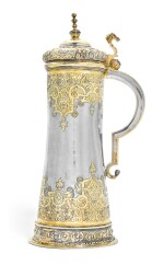 A parcel-gilt silver tankard, maker's mark HK conjoined crowned, probably Brassó, late 16th century