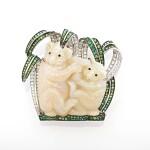 Opal, tsavorite and diamond brooch, 'Koala', Michele della Valle