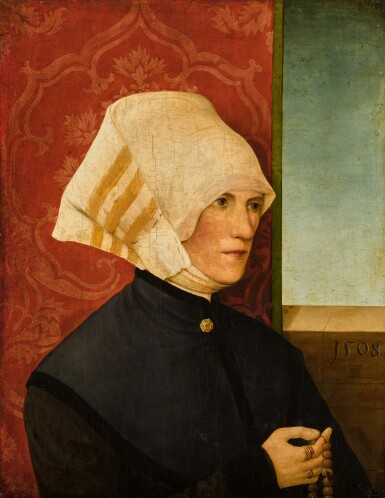 View 1. Thumbnail of Lot 319. Portrait of a lady, half length, wearing black with a white headdress, holding a rosary.