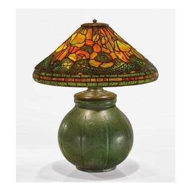 """View 1. Thumbnail of Lot 26. TIFFANY STUDIOS AND GRUEBY FAIENCE COMPANY   """"POPPY"""" TABLE LAMP."""
