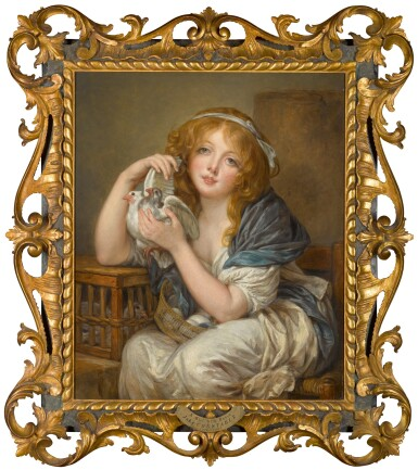 View 2. Thumbnail of Lot 189. 'Une fillette avec pigeons', after Jean-Baptiste Greuze.