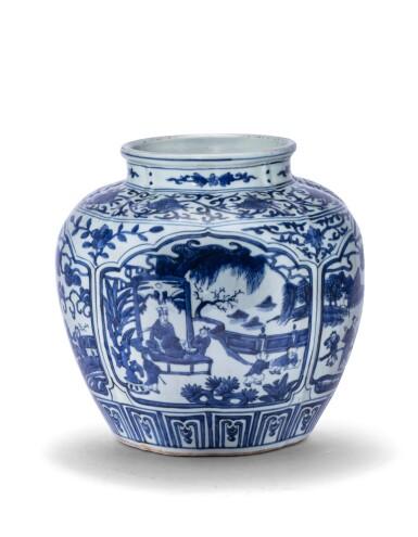 View 2. Thumbnail of Lot 188. Vase en porcelaine bleu blanc Marque et époque Jiajing | 明嘉靖 青花開光人物故事圖罐   《大明嘉靖年製》款 | A blue and white jar, mark and period of Jiajing .