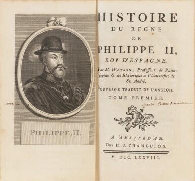 View 2. Thumbnail of Lot 95. Histoire du règne de Philippe II 1778. 4 vol. Aux armes de la comtesse de Provence.