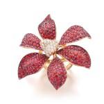 MICHELE DELLA VALLE | ORANGE SAPPHIRE AND DIAMOND RING