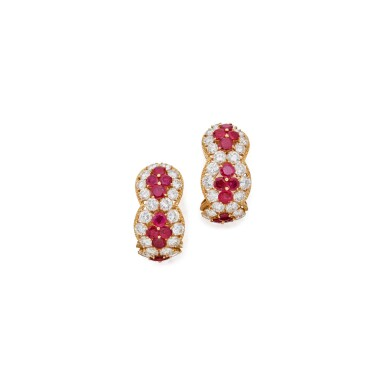 PAIR OF RUBY AND DIAMOND EARCLIPS, VAN CLEEF & ARPELS, FRANCE