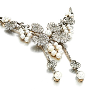View 2. Thumbnail of Lot 30. Natural pearl, pearl and diamond stomacher, attributed to Boucheron, circa 1900.