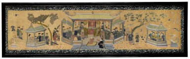 View 1. Thumbnail of Lot 45. A large silk embroidered 'figural' panel, Late Qing dynasty.