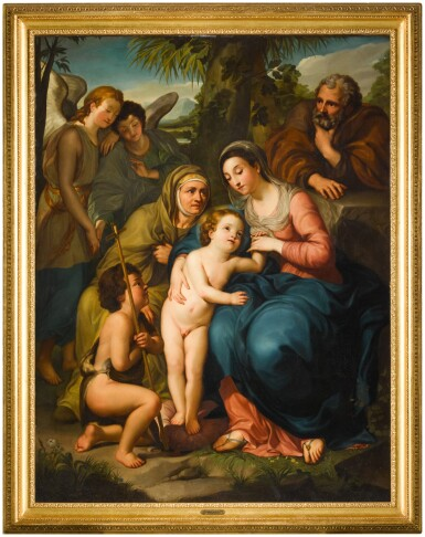 View 2. Thumbnail of Lot 184. The Holy Family with Saint Elizabeth, the infant Saint John the Baptist and two angels, in a landscape.