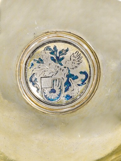 A CONTIENTAL SILVER-GILT AND ENAMEL TAZZA, APPARENTLY UNMARKED, PROBABLY SWISS, 16TH CENTURY