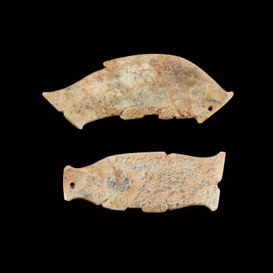 View 2. Thumbnail of Lot 126. Two calcified jade 'fish' pendants Western Zhou dynasty   西周 玉魚形珮兩件.