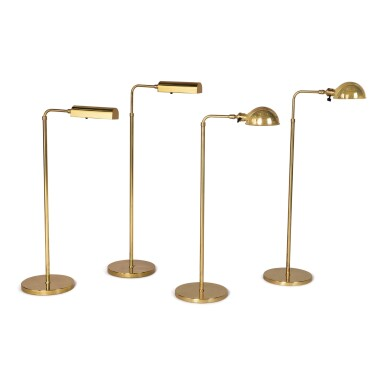 A PAIR OF ADJUSTABLE BRASS FLOOR LAMPS BY CEDRIC HARTMAN, TOGETHER WITH A PAIR OF ADJUSTABLE BRASS LAMPS BY HANSEN