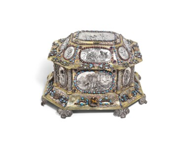 A LARGE GERMAN SILVER-GILT, ENAMEL AND GEM-SET CASKET APPLIED WITH EMBOSSED SILVER PLAQUES, PETER WINTER, AUGSBURG, CIRCA 1673-77