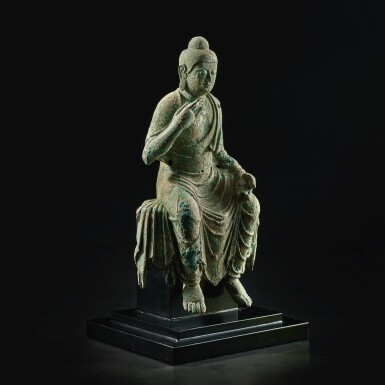 View 3. Thumbnail of Lot 585. A BRONZE FIGURE OF BUDDHA,  TANG DYNASTY.