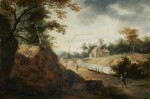 AERT JANSZ. MARIENHOF | RIVER LANDSCAPE WITH FIGURES ON A PATH AND CROSSING A BRIDGE