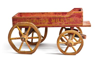 View 3. Thumbnail of Lot 1496.  'AMERICAN MILK COMPANY' PAINTED WOOD AND WIRE CHILDREN'S PULL-TOY WAGON, EARLY 20TH CENTURY.