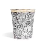 A German parcel-gilt silver marriage beaker, unmarked, circa 1604