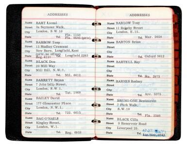 View 1. Thumbnail of Lot 46. BRIAN EPSTEIN | Address book, 1967.
