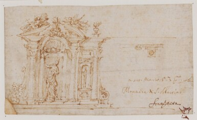 View 2. Thumbnail of Lot 522. ITALIAN SCHOOL, 17TH CENTURY   Design for an inkstand.