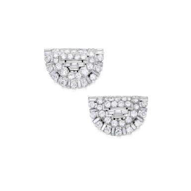 View 1. Thumbnail of Lot 255. Pair of Diamond Clips.
