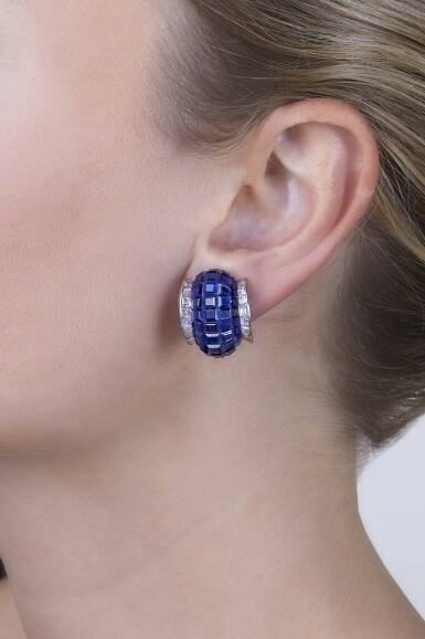 View 2. Thumbnail of Lot 43. Van Cleef & Arpels [ 梵克雅寶] | Pair of Sapphire and Diamond 'Mystery-Set' Earclips [藍寶石配鑽石「Mystery-Set」耳環一對].