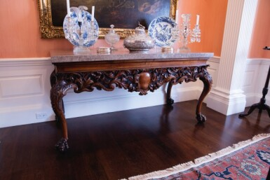 View 7. Thumbnail of Lot 111. An Irish George IV Carved Walnut Side Table, Circa 1820.