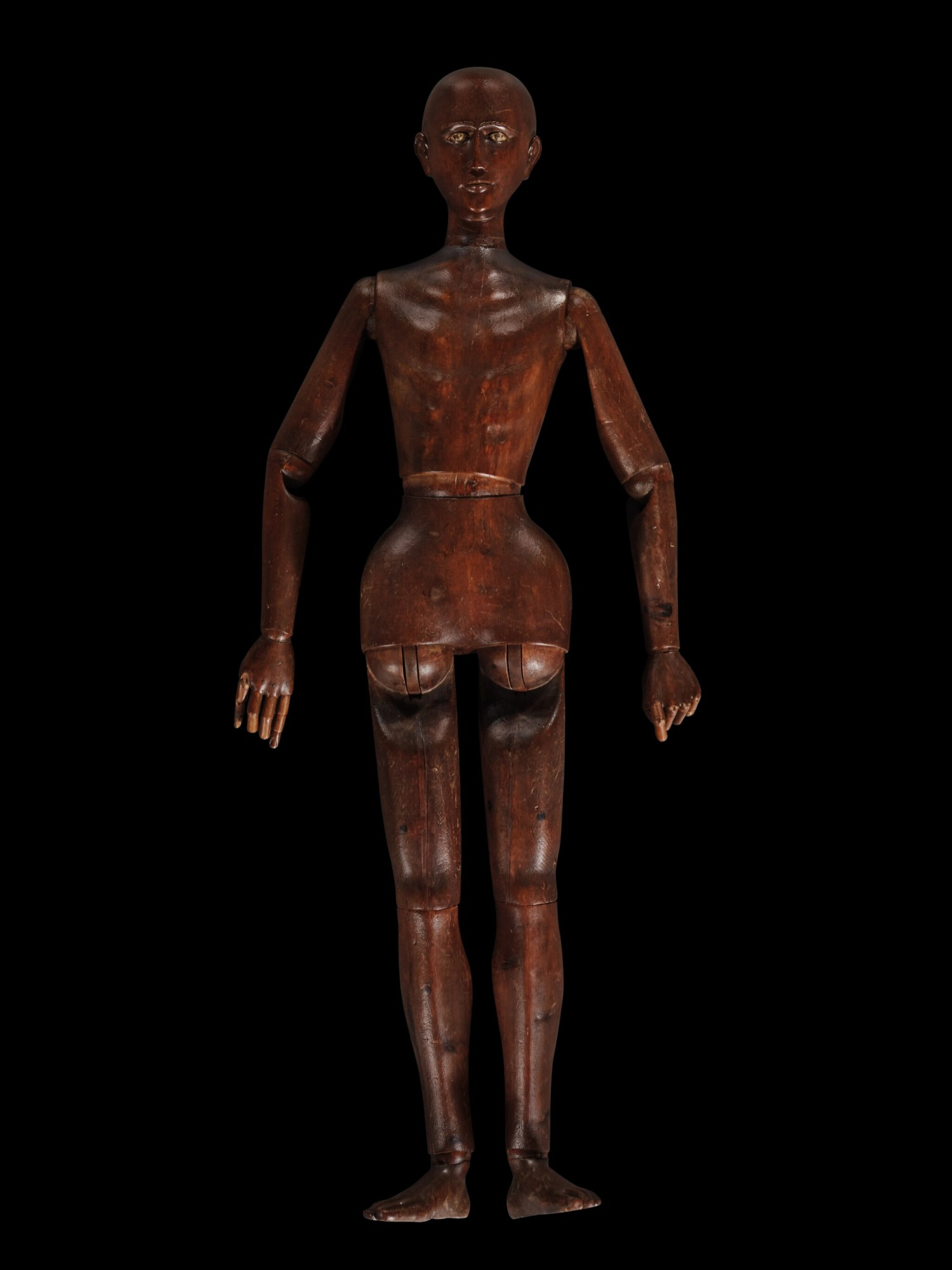 View 1 of Lot 165. A carved oak lifesize and articulated artist's mannequin, probably French, early 19th century.