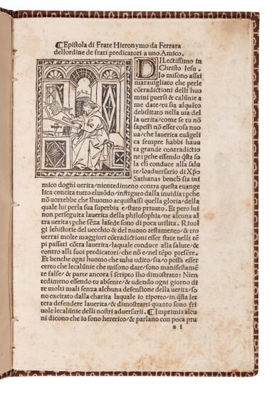 Savonarola, Epistola a uno amico, [Florence, 1495], modern boards
