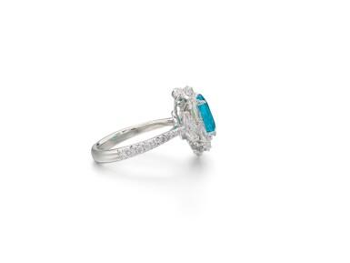 View 2. Thumbnail of Lot 1727. Paraíba Tourmaline and Diamond Ring | 1.98克拉「巴西」帕拉伊巴 配 鑽石 戒指.