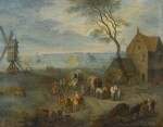A village scene with travellers by a windmill