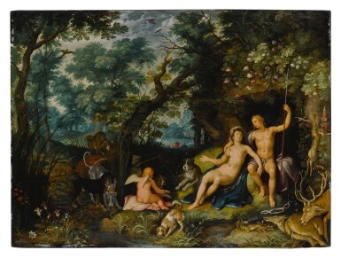 View 1. Thumbnail of Lot 522. Venus and Adonis resting in an extensive landscape, with Cupid and hunting dogs and their quarries.