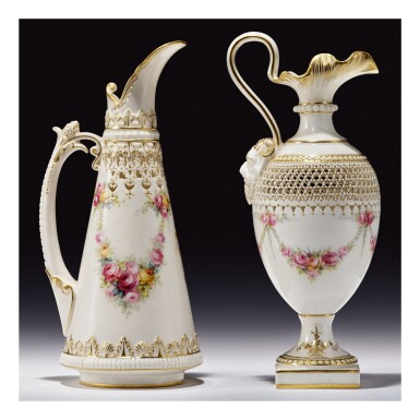 TWO ROYAL WORCESTER PORCELAIN RETICULATED EWERS BY GEORGE OWEN, PAINTED BY HARRY CHAIR AND ERNEST PHILLIPS 1909 AND 1913