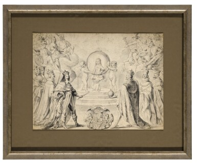 View 2. Thumbnail of Lot 28. Allegorical scene of Monarchs, including Louis XIII of France, celebrating the accession to the Duchy of Savoy of Charles Emmanuel II, Prince of Piedmont, in 1638.
