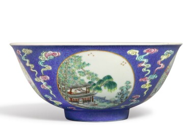 View 3. Thumbnail of Lot 553.  A BLUE-GROUND FAMILLE-ROSE SGRAFFIATO 'MEDALLION' BOWL,  DAOGUANG SEAL MARK AND PERIOD.