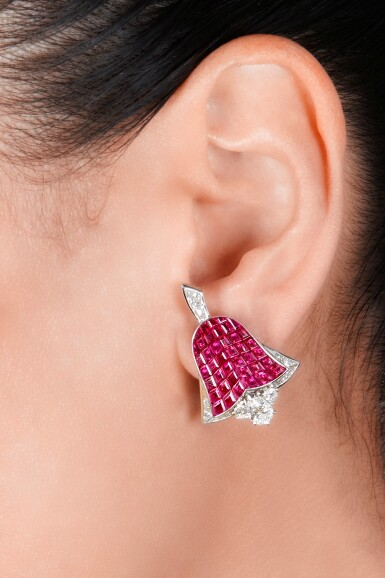 View 2. Thumbnail of Lot 78. Van Cleef & Arpels   Pair of Mystery-Set Ruby and Diamond Earclips, France.