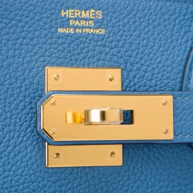 View 6. Thumbnail of Lot 22. Hermès Bleu Azur Birkin 30cm of Togo Leather with Gold Hardware.