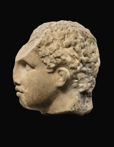 View 4. Thumbnail of Lot 22. A GREEK MARBLE HEAD OF A YOUTH, 3RD QUARTER OF 4TH CENTURY B.C..