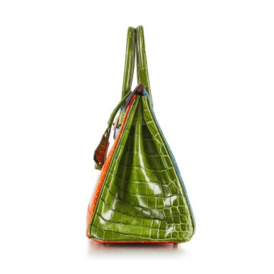 View 3. Thumbnail of Lot 8386. Vert Chartreuse, Orange and Bleu Mikonos Niloticus HSS Birkin 30, Gold Hardware, 2010   愛馬仕嫩黃綠色拼橘色及米科諾斯藍色尼羅河鱷魚皮30公分柏金包,具愛馬仕定製馬蹄印,配鍍金金屬件,2010年.