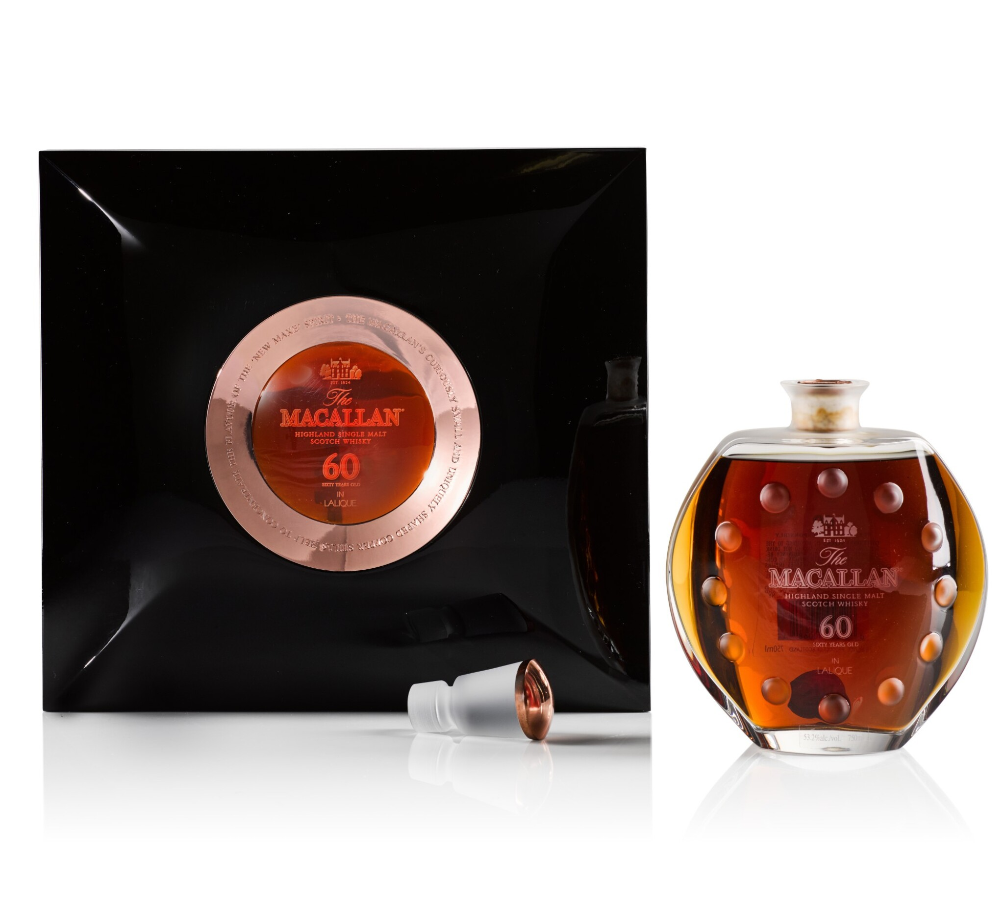 View 1 of Lot 17. The Macallan 60 Year Old in Lalique, 6 Pillars, Fourth Edition, 53.2 abv NV .