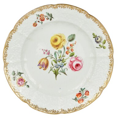 View 2. Thumbnail of Lot 110. A Set of Sixteen English Porcelain Dinner Plates, Mid-19th Century.