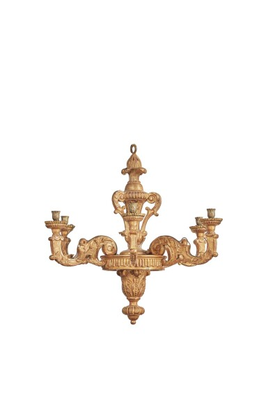 View 2. Thumbnail of Lot 182. A LOUIS XIV CARVED GILTWOOD SIX-LIGHT CHANDELIER, CIRCA 1700.