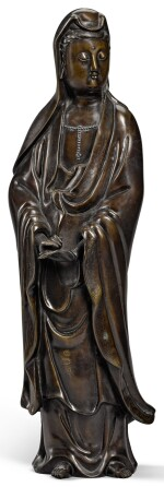 A SILVER-INLAID BRONZE FIGURE OF GUANYIN  QING DYNASTY, 18TH CENTURY | 清十八世紀 銅錯銀觀音菩薩立像