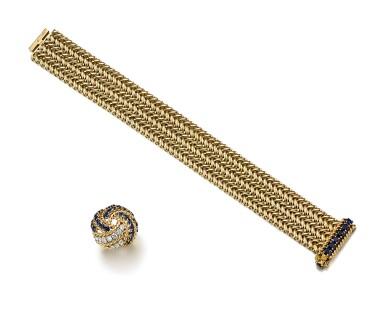 SAPPHIRE AND DIAMOND RING, BOUCHERON; AND SAPPHIRE BRACELET, VAN CLEEF & ARPELS | 藍寶石 配 鑽石 戒指, 寶詩龍 ( Boucheron ); 及 藍寶石手鏈, 梵克雅寶(Van Cleef & Arpels)