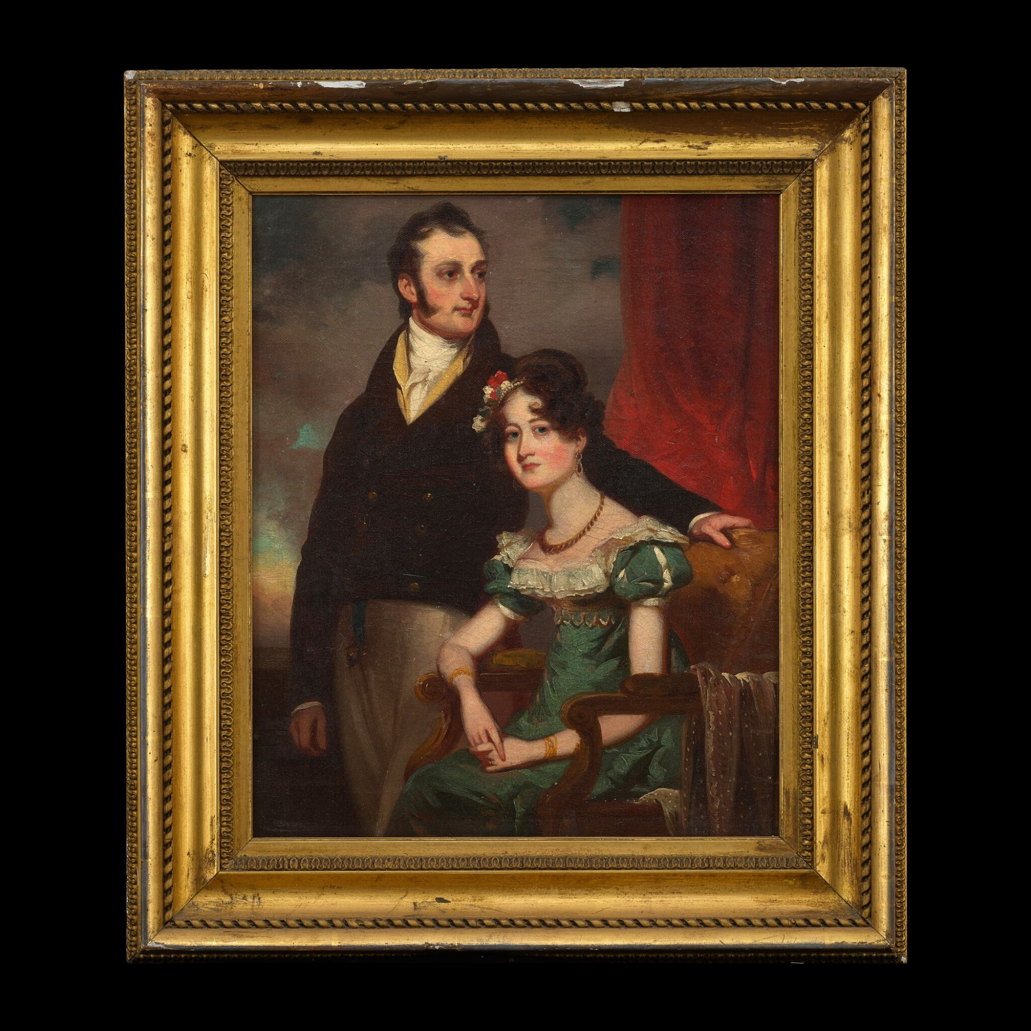 View full screen - View 1 of Lot 212. George Chinnery (1774-1852), circa 1820, Portrait of a Lady and Gentleman | 錢納利(1774-1852年)約1820年   紳士貴婦像 布本油畫 木框.