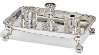 A GEORGE II SILVER INKSTAND, PETER ARCHAMBO I, LONDON, 1742