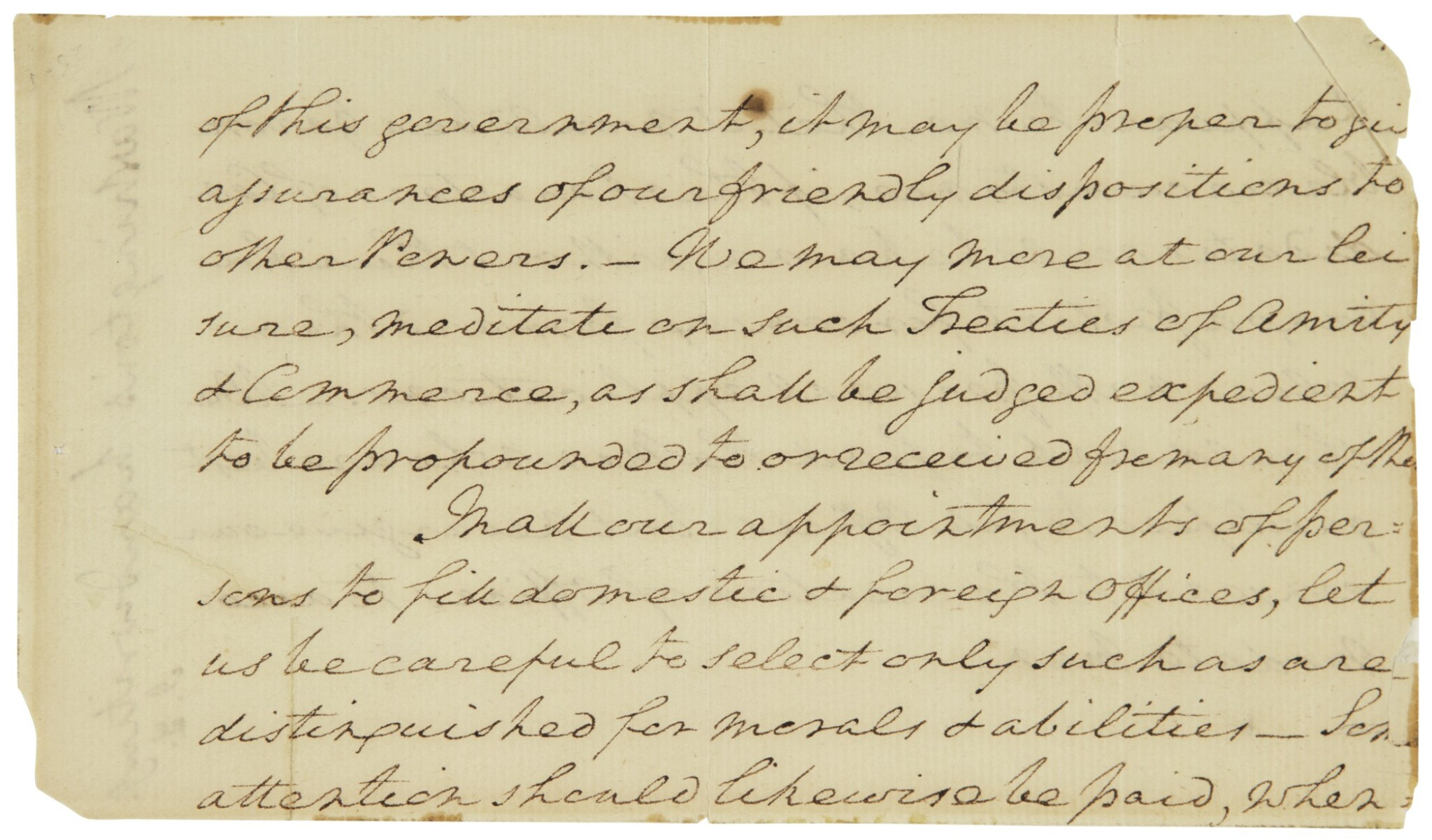 View full screen - View 1 of Lot 2164. Washington, George. Autograph manuscript fragment from his undelivered first Inaugural Address.