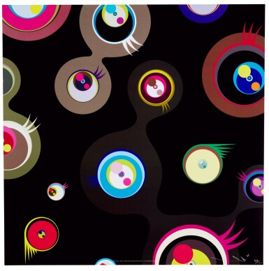 View 2. Thumbnail of Lot 68. TAKASHI MURAKAMI | JELLYFISH EYES CREAM; JELLYFISH EYES - BLACK 2; AND JELLYFISH EYES - WHITE 1.