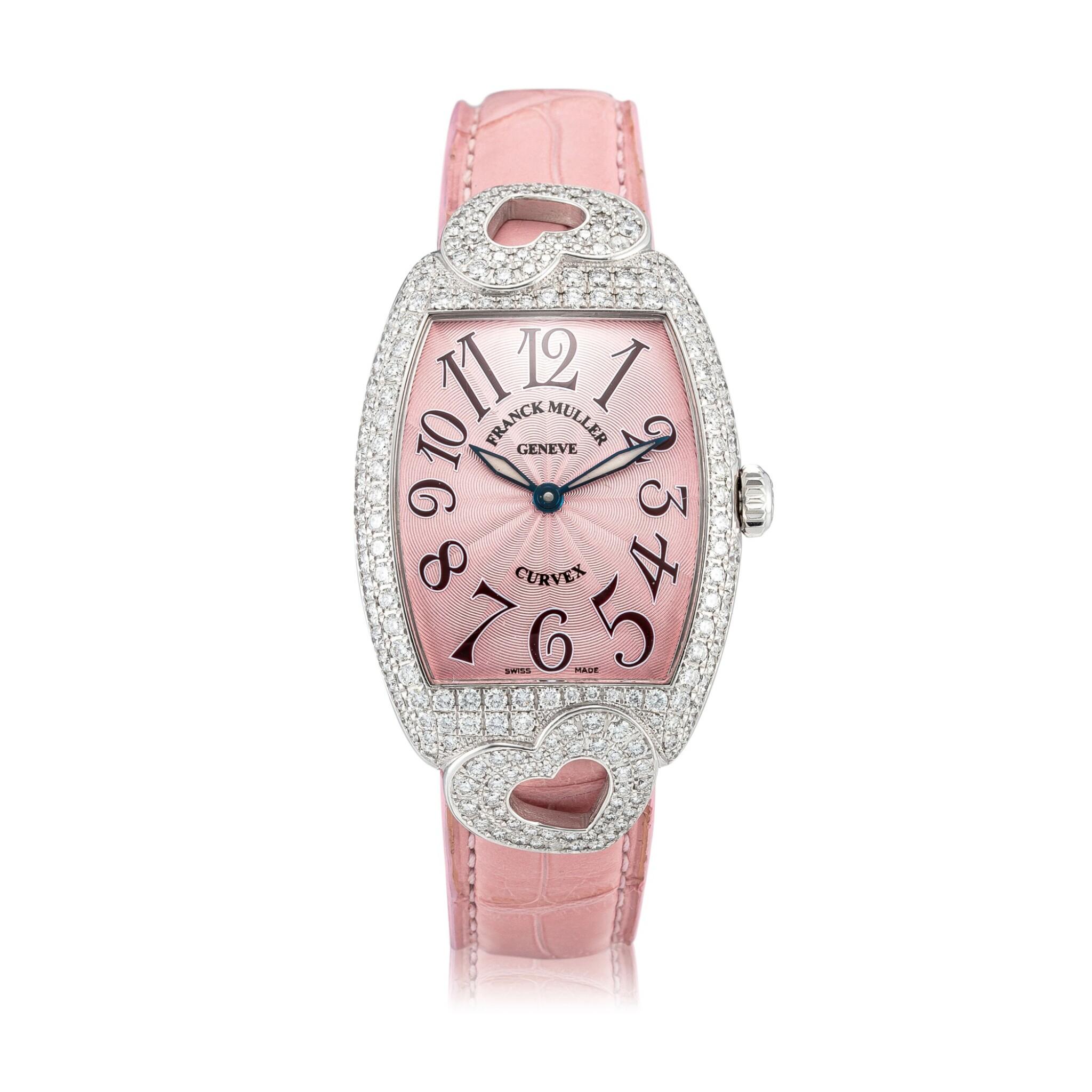 View 1 of Lot 8057. Franck Muller   Curvex, Reference 7502 QZ HJ, A white gold and diamond-set wristwatch, Circa 2000   Curvex 型號7502 QZ HJ  白金鑲鑽石腕錶,約2000年製.